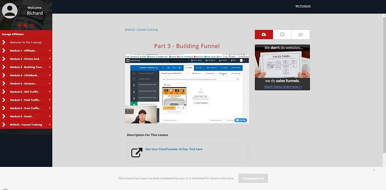 Screenshot from Savage Affiliate where Franklin explains ClickFunnels and Funnels.