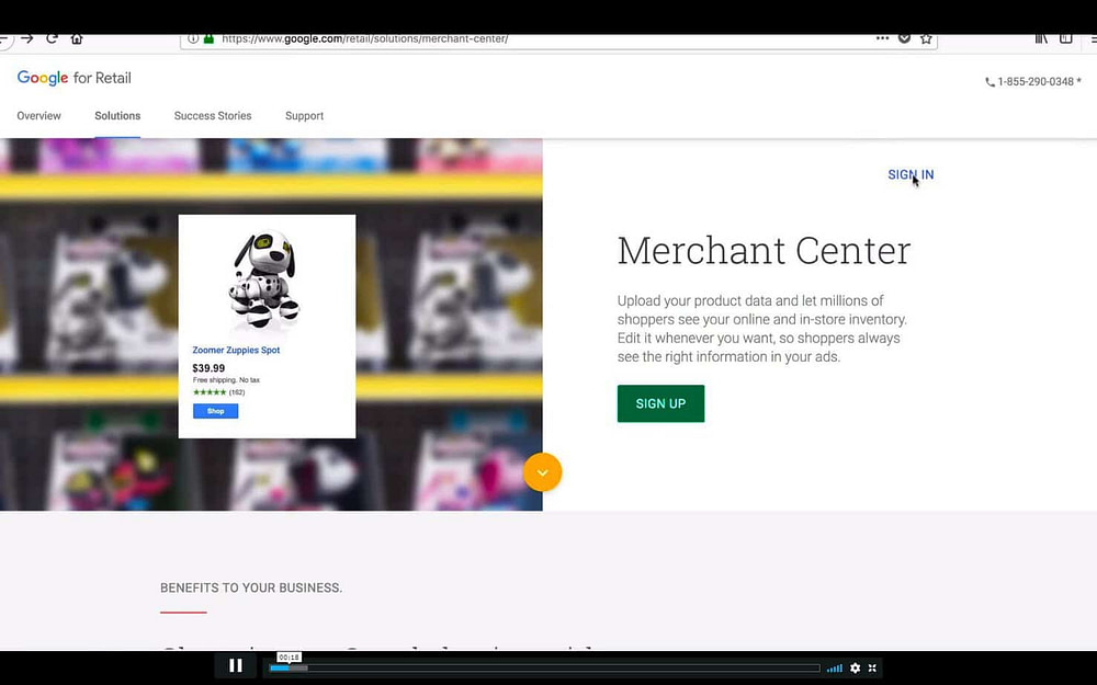 Franklin is explaining Google Merchant account in this screenshot from Ecom Elties