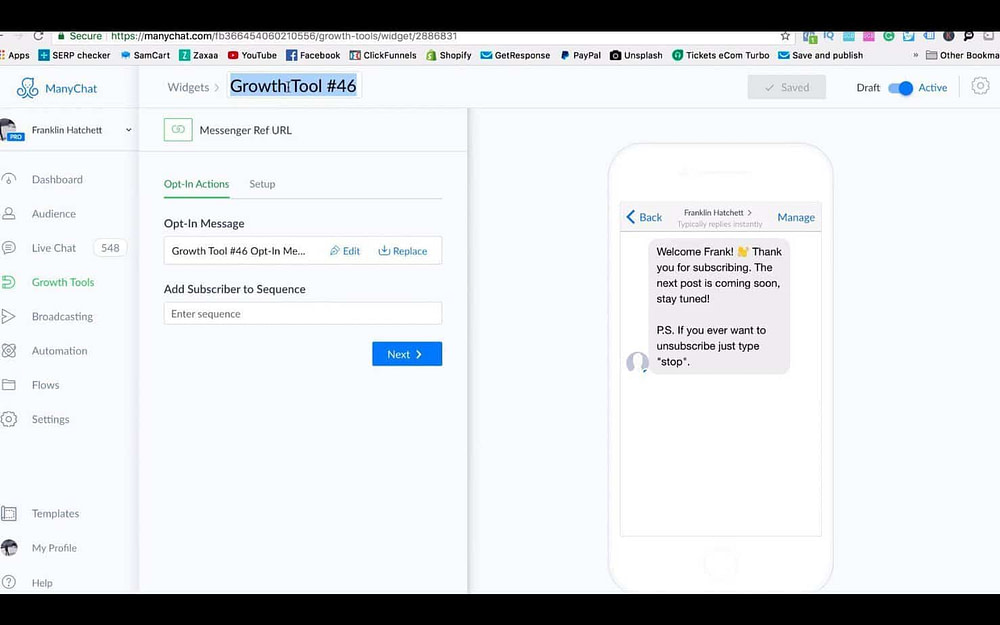 Screenshot from a video about chatbots by using ManyChat in Ecom Elites.