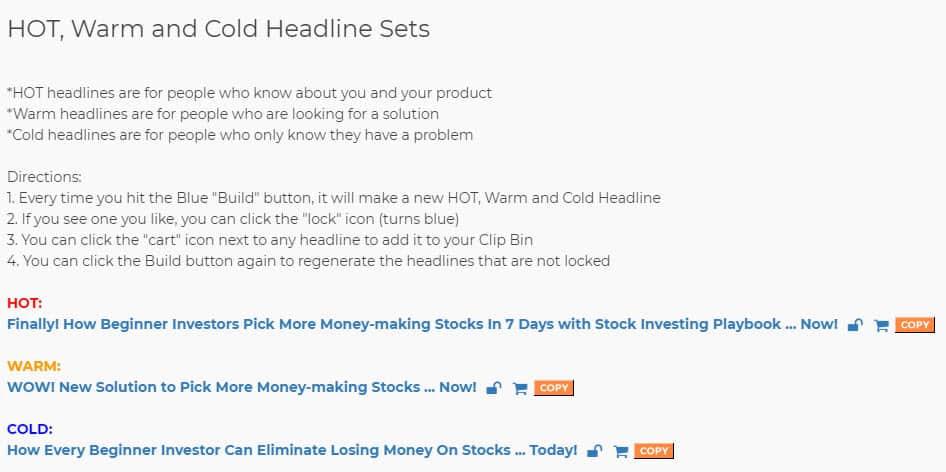 funnel scripts headline script. hot warm and cold headline sets