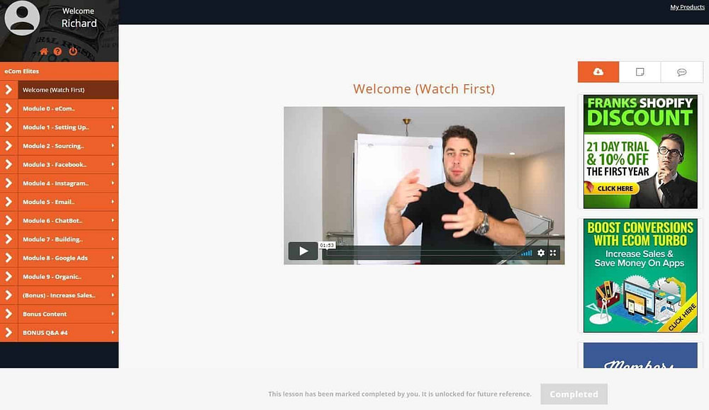 Ecom Elites 2.0 Welcome Screen
