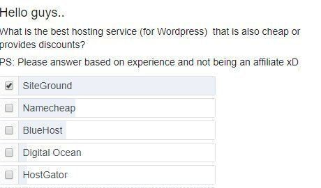 a facebook poll where siteground wins as best hosting service