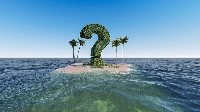 question mark on island